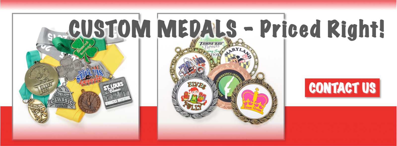 Contact us for all your custom medal needs, for gymnastics or any sport.